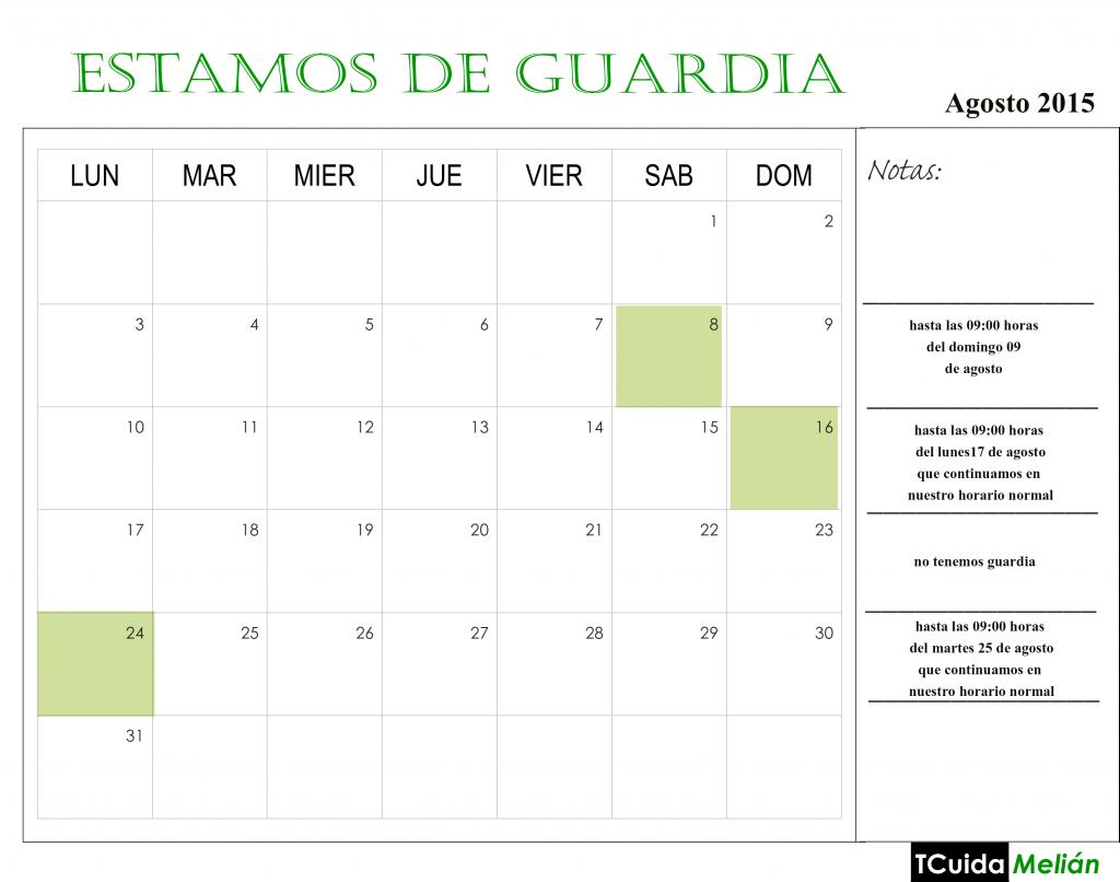 calendario guardia agosto