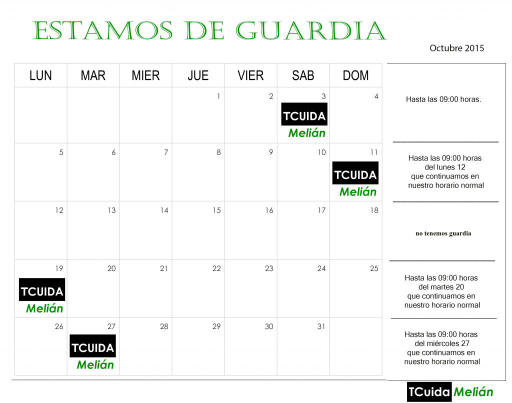 Calendario para guardias TCUIDA octubre